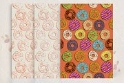Seamless vector pattern with donut.