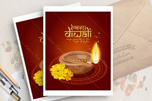 Diwali indian greeting card