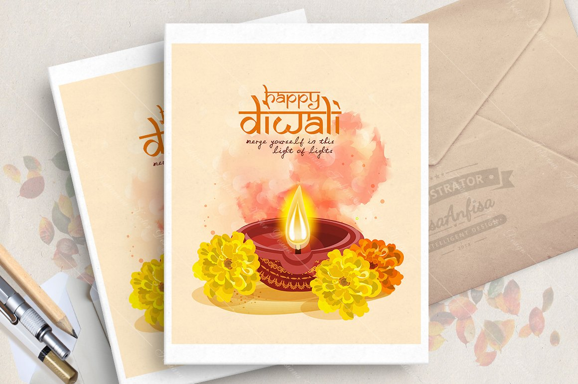 Diwali Indian Greeting Card Illustrations Creative Market