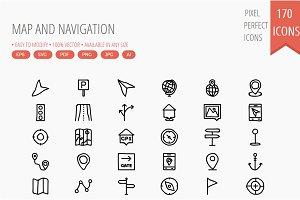 150+ Map & Navigation Hand Drawn
