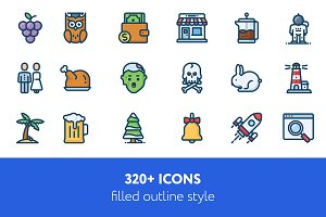 320 + icons filled outline style