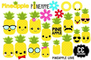 Pineapple Love Clip Art Kawaii