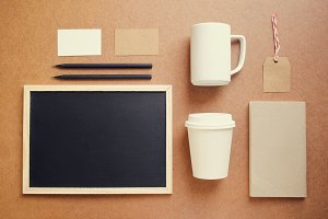 Coffee mockup set with blackboard