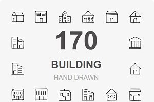 170 Buildings Hand Drawn icons