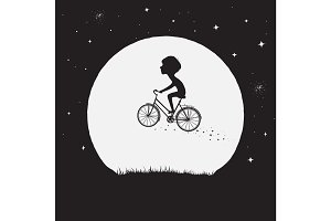 Little boy flying on bicycle
