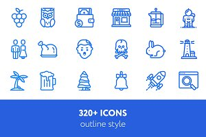 320 + icons outline style