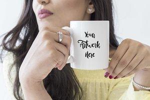 Mug mockup - Woman holding mug