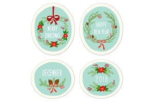 Cute Vintage Hand Drawn Christmas Holiday Floral Wreath collection