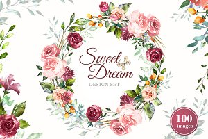 Watercolor Flower Clipart Design set