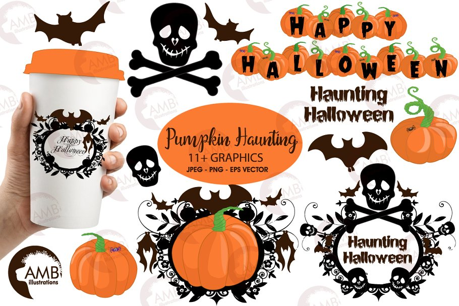 Halloween haunting clipart AMB-996 in Illustrations - product preview 8