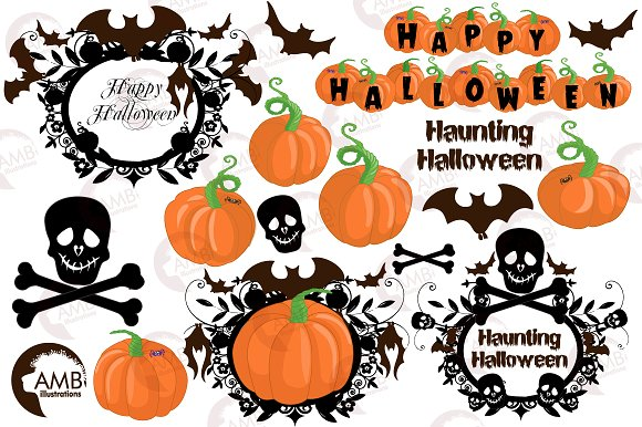 Halloween haunting clipart AMB-996 in Illustrations - product preview 3