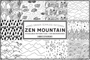 Zen Mountain Seamless Pattern Repeat