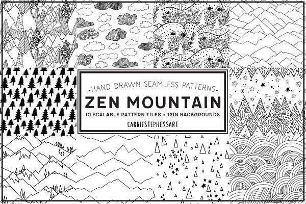 Zen Mountain Seamless Pattern Repeat Graphic Patterns Creative Classy Zen Patterns