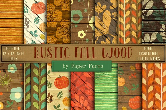 Rustic Fall Wood Backgrounds Graphic Patterns Creative Market