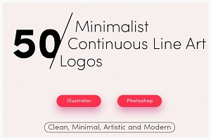 50 Premade Line Art Logo Bundle Pack