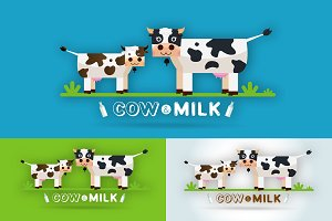 Cow Milk Farm Logo design vector