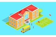 School Orange Two-Storey School and Yellow Bus
