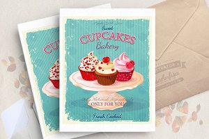Cupcakes in vector. Bakery poster