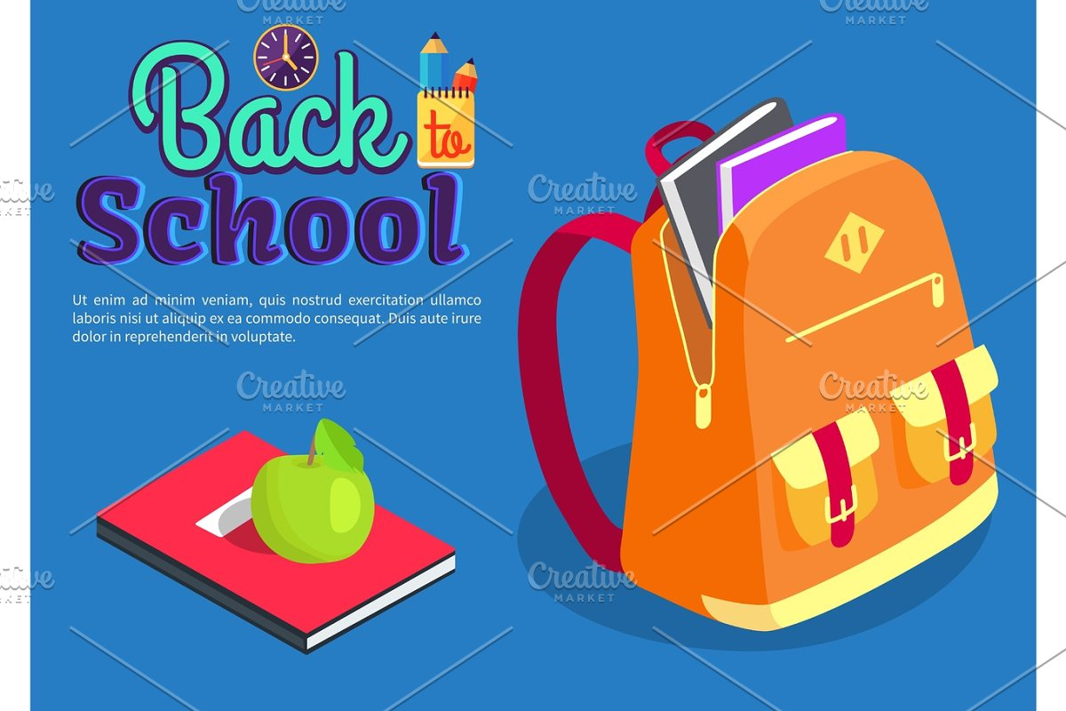 Backpack Full of Book Textbook with Apple Vector in Objects - product preview 8