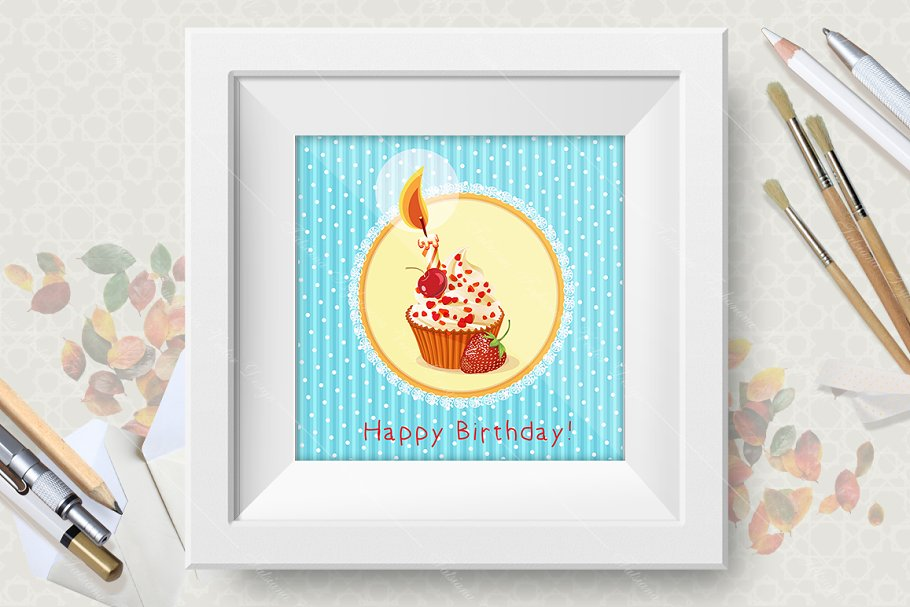 Cupcakes. Birthday greeting cards in Illustrations - product preview 8
