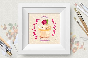 Cupcakes. Birthday greeting cards