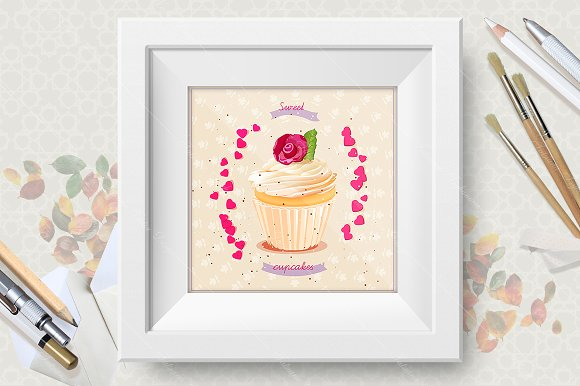 Cupcakes. Birthday greeting cards in Illustrations - product preview 1