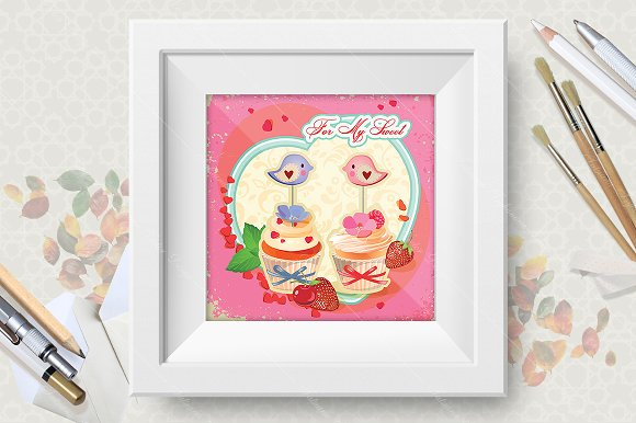 Cupcakes. Birthday greeting cards in Illustrations - product preview 2