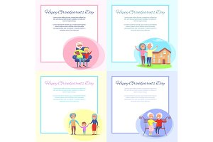 Happy Grandparents Day Posters Set Senior Couple