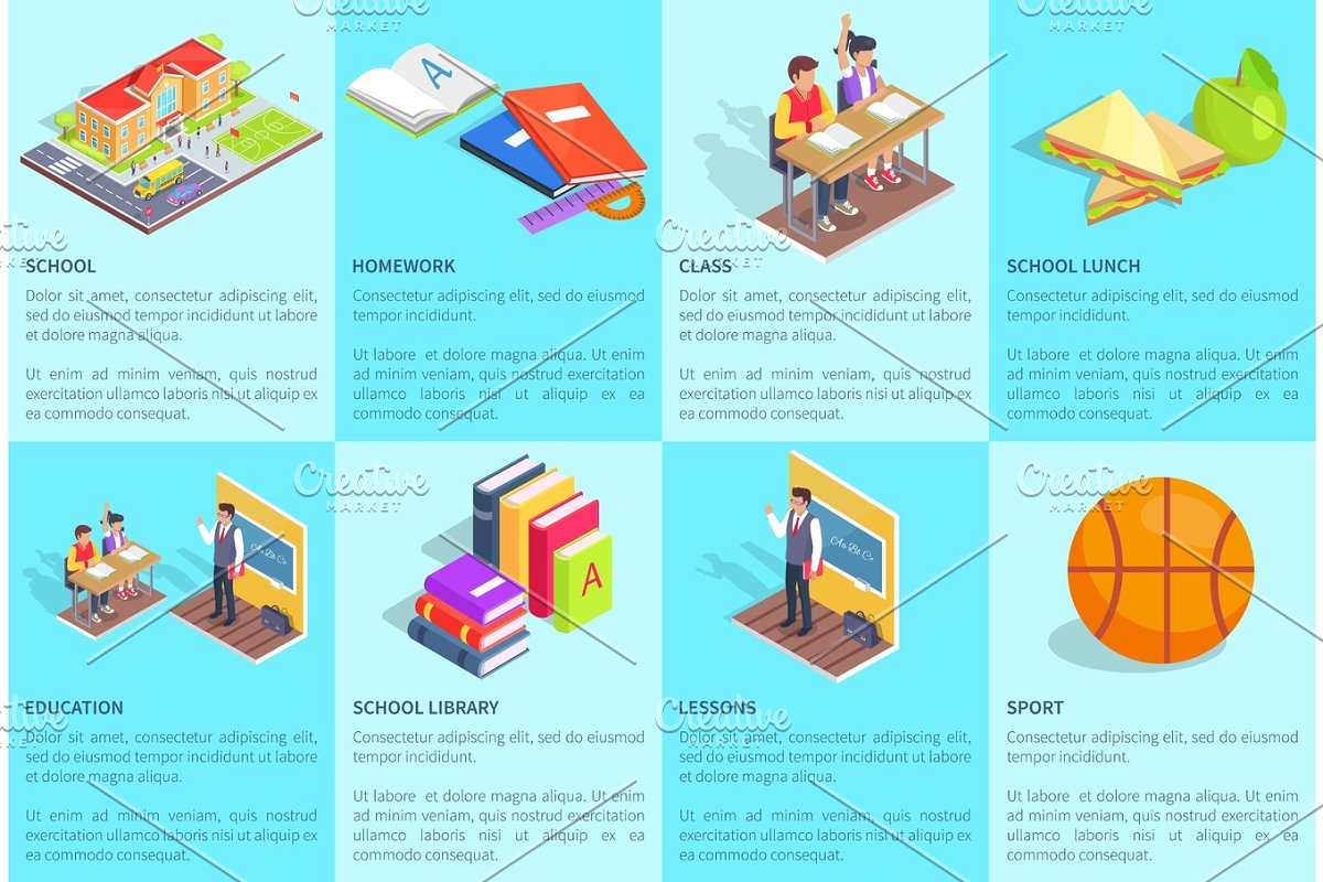 Set of Posters Dedicated to Studying at School in Objects - product preview 8
