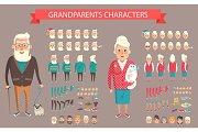 Grandparents Constructor Vector Illustration.