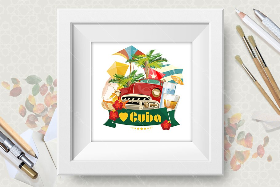 Cuba vector poster. Travels in Illustrations - product preview 8