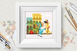 Cuba vector poster. Travels