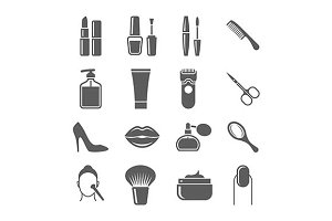 Beauty and makeup black icons