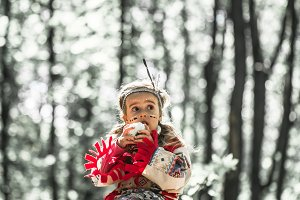 girl in costume of American Indian