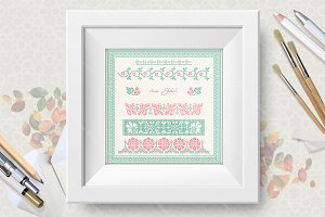 Cross stitch vector set