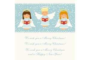 Cute hand drawn singing Christmas angel characters