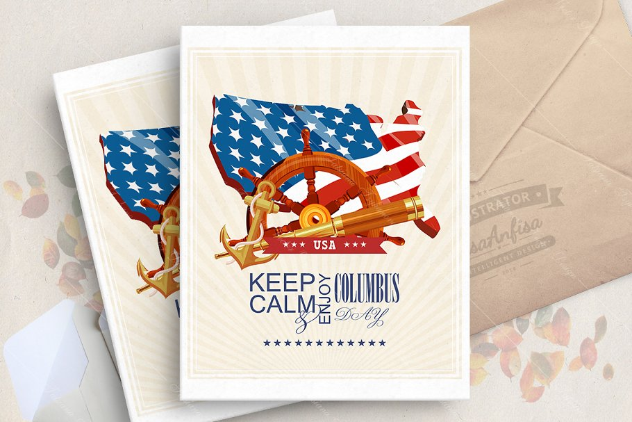 Columbus day vector poster in Illustrations - product preview 8