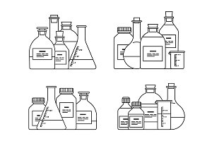 chemical glassware icons