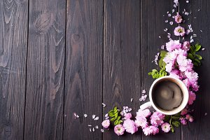 Floral frame with coffee cup