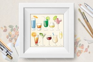 Cocktails vector set