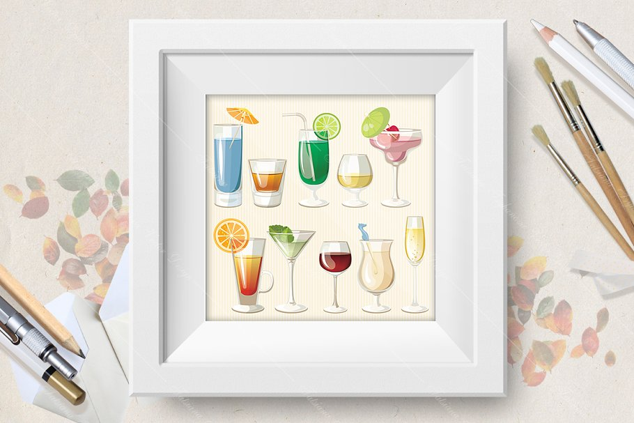 Cocktails vector set in Illustrations - product preview 8