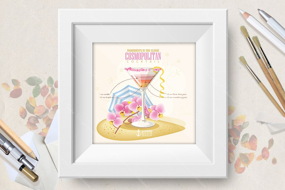 Cocktail Cosmopolitan poster in Illustrations - product preview 8