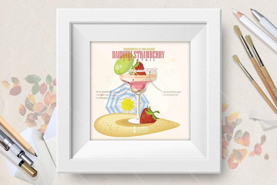 Cocktail Daiquiry Strawberry poster in Illustrations - product preview 8