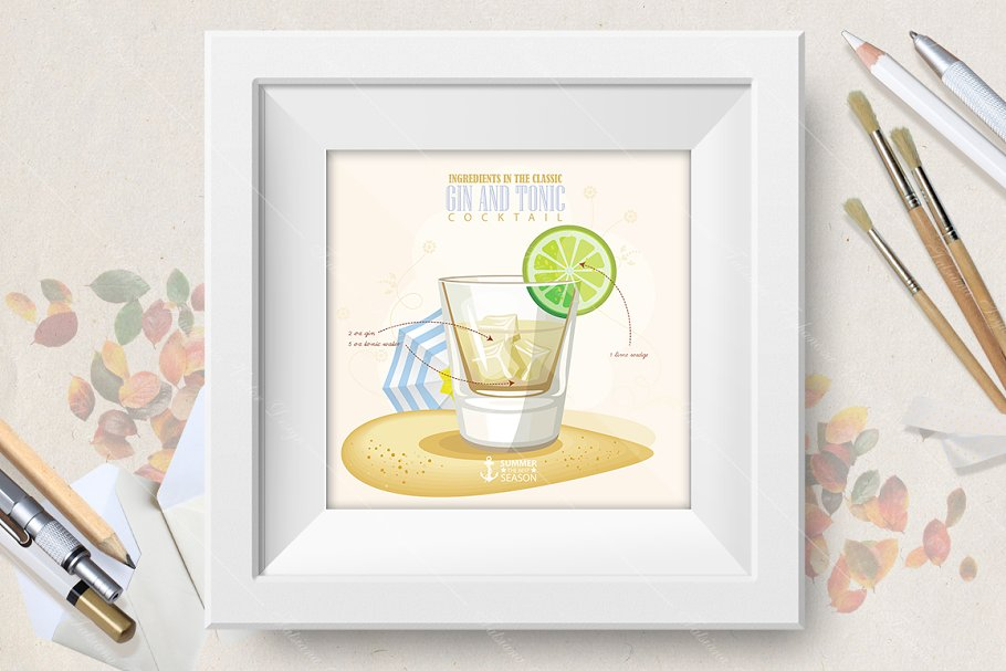 Cocktail Gin and Tonic poster in Illustrations - product preview 8
