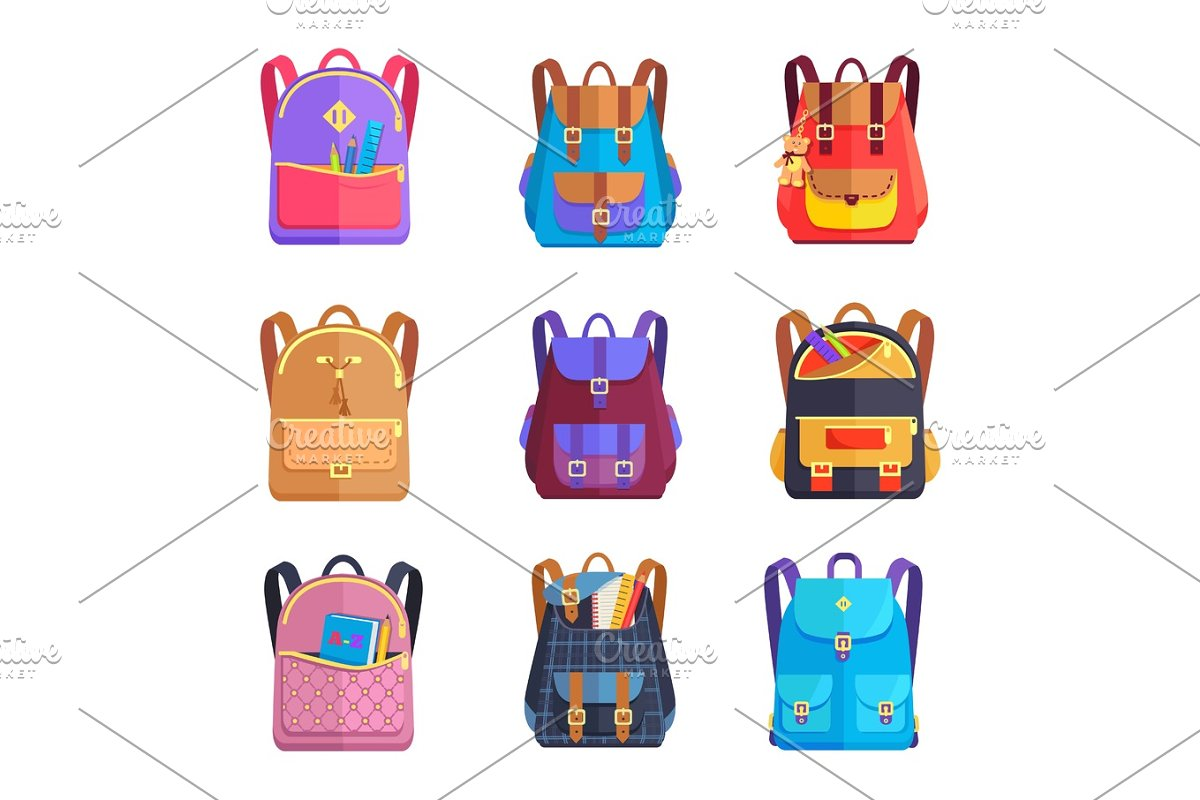 Set of Colorful Rucksacks for Girls or Boys Vector in Objects - product preview 8