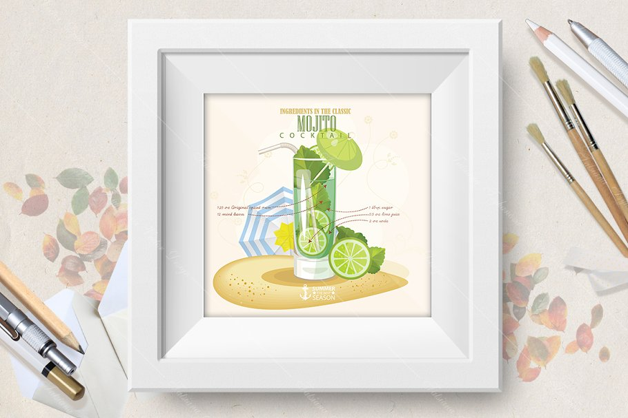 Cocktail Mojito poster in Illustrations - product preview 8