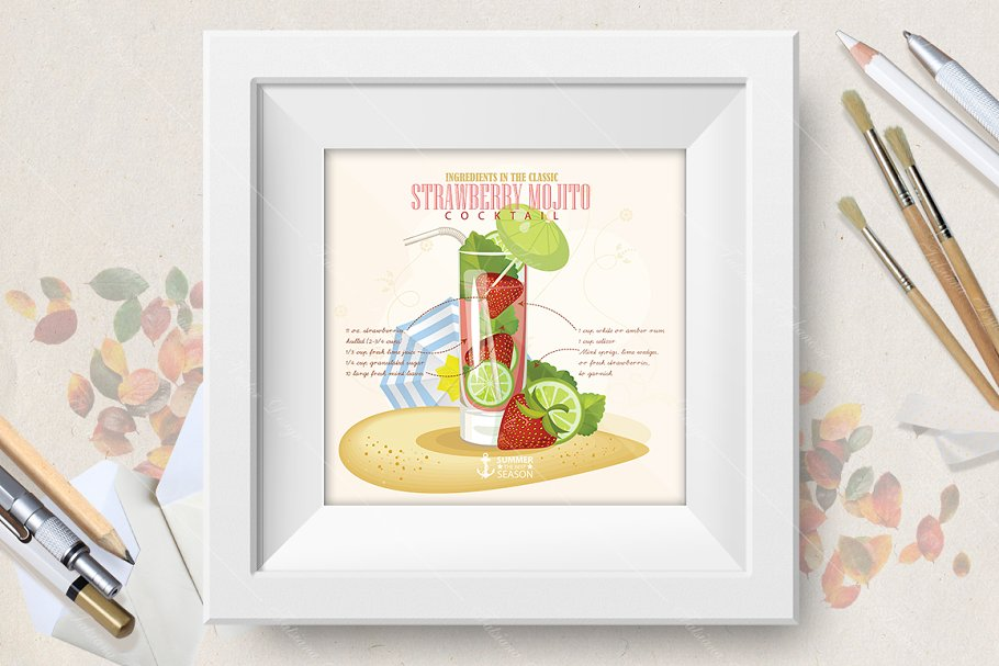 Cocktail Strawberry Mojito poster in Illustrations - product preview 8