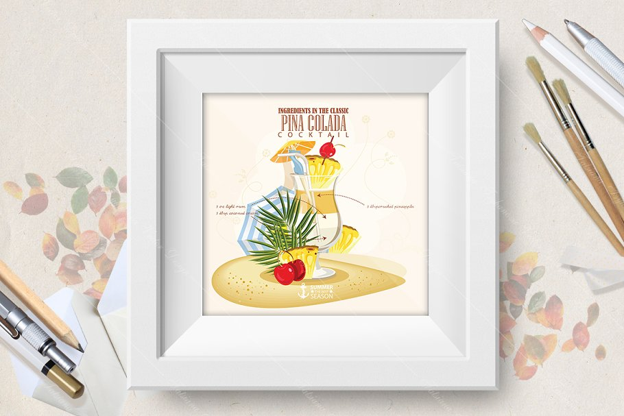 Cocktail Pina Colada poster in Illustrations - product preview 8