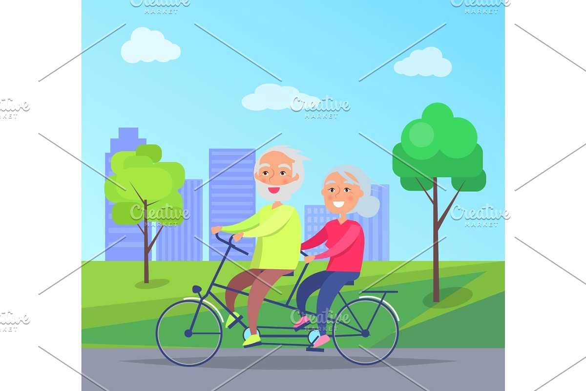 Happy Mature Couple Riding Together on Bike in Illustrations - product preview 8