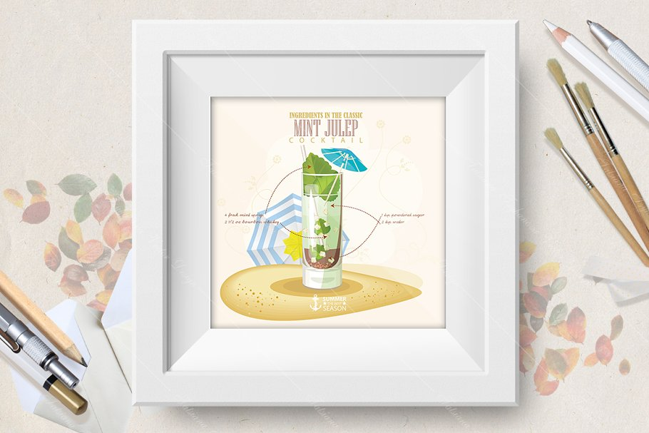 Cocktail Mint Julep poster in Illustrations - product preview 8